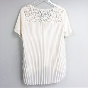 Michael Kors | Pleated Lace Yoke Flowy Blouse